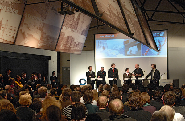 Präsentation des Entwurfs für das Science Center am 21. Januar 2008 im Kesselhaus in der Speicherstadt.