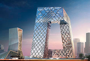 Visualisierung des Hauptquartiers des Fernsehsenders CCTV in Peking (links) und die Casa da Música in Porto (rechts)