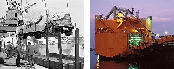 Links: In den Dreißiger Jahren wurden Autos vor Schuppen 83  am Chilekai mit einem Halbportalkran verladen (3). Rechts: Unikai betreibt am O'Swaldkai eine moderne RoRo-Anlage für die Verschiffung von Autos (5).