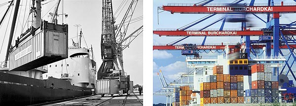 Links: Buchardkai 1967: In der Frühzeit der Containerwirtschaft erfolgt die Verladung noch über konventionelle Krane. Rechts: Burchardkai heute: Hier wird jeder dritte Container im Hamburger Hafen umgeschlagen.