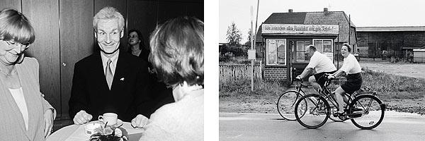 Links: Henning Voscherau in seinem letzten Wahlkampf als Bürgermeisterkandidat der SPD. Rechts: Fahrradtour der CDU-Landtagsfraktion Mecklenburg-Vorpommern mit Angela Merkel, 1993