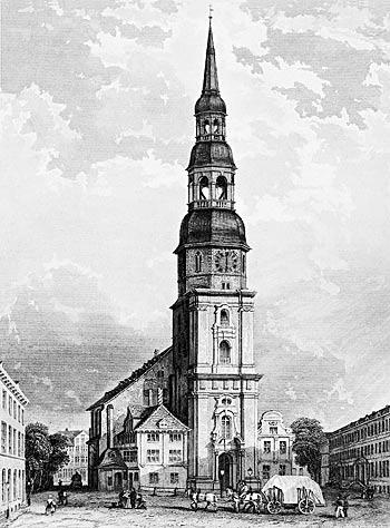 St. Katharinen im 18. Jahrhundert mit der barocken Turmfassade von Johann Nicolaus Kuhn (1732–37)