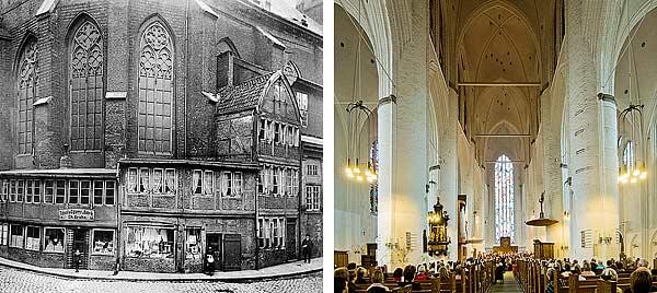 Links: Der Chor mit dem dichten Kranz von An-bauten, die bis in die 1880er Jahre hinein zum Erscheinungsbild der Kirche gehörten. Rechts: Das Mittelschiff mit Blick auf den Chor und das Gloriafenster von Hans Gottfried von Stockhausen (1955–57)
