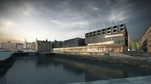 Der designxport wird in das Gebäudeensemble am Magdeburger Hafen einziehen, in dessen  nördlichem Teil Wohnungen, im südlichen Teil die Zentrale von Greenpeace sein werden.
