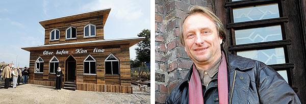 Links: Die Oberhafenkantine Replika bei ihrer Eröffnung. Rechts: Initiator des Holz-Klons: Klausmartin Kretschmer hat noch viel damit vor.